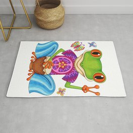 Peace Frog - Colorful Hippie Frog Art by Thaneeya McArdle Rug