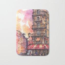 Paris ink & watercolor illustration Bath Mat
