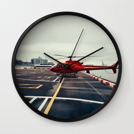 Red Helicopter Wall Clock