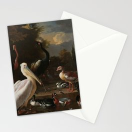 Melchior d'Hondecoeter - A pelican and other fowl at a water basin, known as 'The floating feather' Stationery Cards