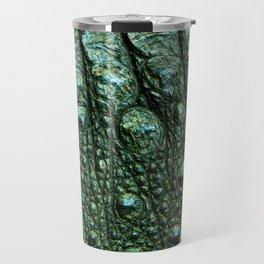 Green Alligator Leather Print Travel Mug