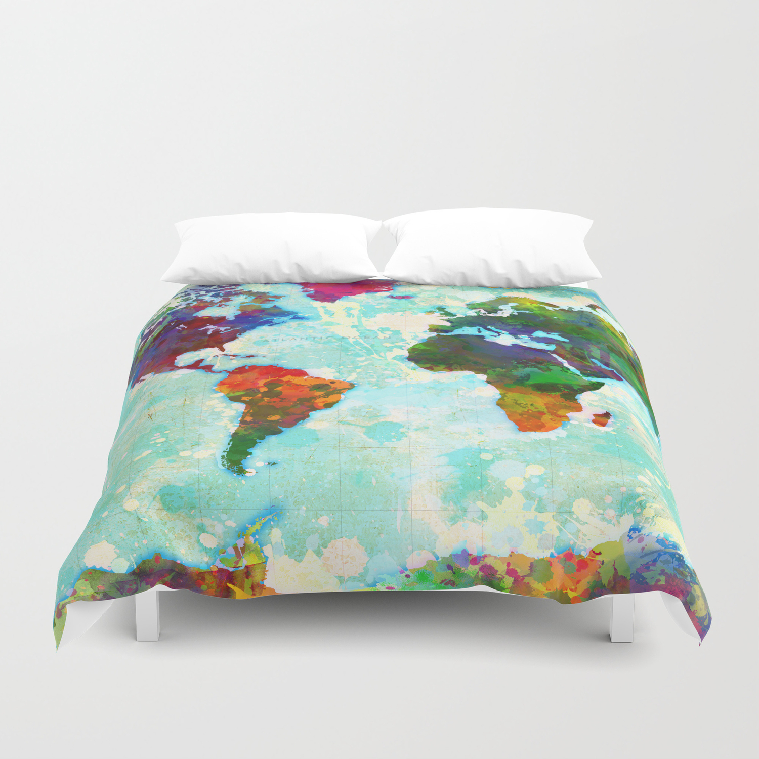 Abstract Map of the World Duvet Cover