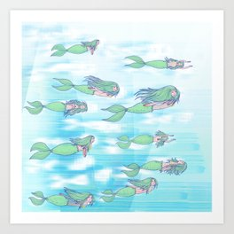 Mermaid migration Art Print