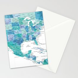 Map of the USA Mexico and the Caribbean Sea in watercolor Stationery Cards