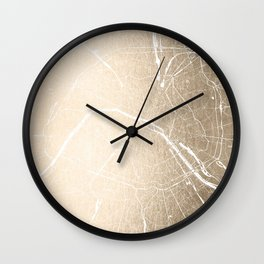 Paris France Minimal Street Map - Gold on White Wall Clock