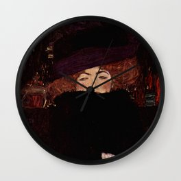 """Gustav Klimt """"Lady with Hat and Feather Boa"""" Wall Clock"""