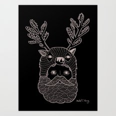Portrait of Northern Deer Man Art Print