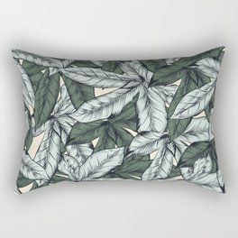 Tropical hand drawn pattern with leaves Rectangular Pillow