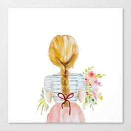 Blonde Girl with Flowers Canvas Print