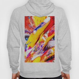Women with paint on her hands and face Hoody