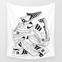 sneakers Wall Tapestries featuring Sneakers Illustration by SoulWon Cheung