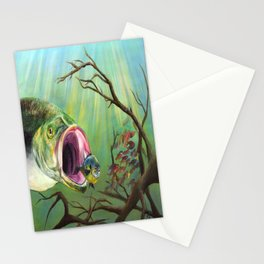 Large Mouth Bass and Clueless Blue Gill Fish Stationery Cards