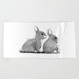 Leaf Rabbits Beach Towel