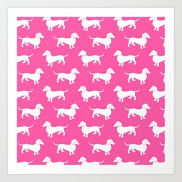 Pink Dachshunds Art Print