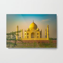 the-taj-mahal-during-sunset Metal Print