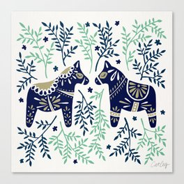 Swedish Dala Horse – Navy & Mint Palette Canvas Print