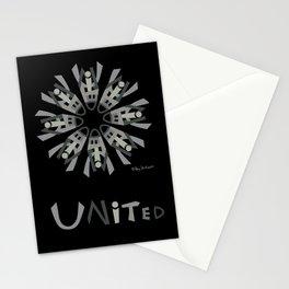 United Mandala with UNITED (s) - Black Stationery Cards