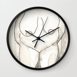 LARGE WOMAN NUDE big lady nudes plus size women naked original watercolor painting art short women body positive fat obese breasts Wall Clock