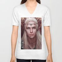 thranduil V-neck T-shirts featuring Thranduil Portrait by Jay Lockwood Carpenter