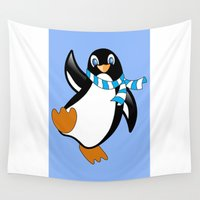 penguin Wall Tapestries featuring Penguin by Marcel Derweduwen