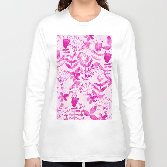 Watercolor Floral & Birds II Long Sleeve T-shirt