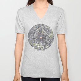 Mexico city map engraving Unisex V-Neck