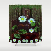 decorative Shower Curtains featuring Gargoyle decorative by Pepita Selles
