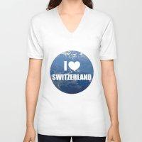 switzerland V-neck T-shirts featuring I Love Switzerland by Caroline Fogaça