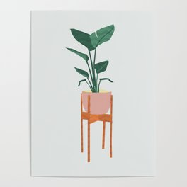 Boho mid century modern house plant and pot stand Poster