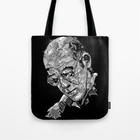 hunter s thompson Tote Bags featuring Hunter S Thompson by Andy Christofi