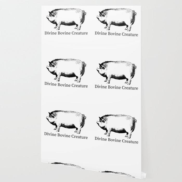 Divine Bovine Creature Funny Pig Wallpaper