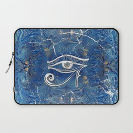 Silver Egyptian Eye of Horus  on blue marble Laptop Sleeve