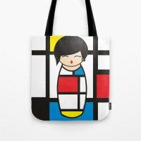 mondrian Tote Bags featuring Kokeshi Mondrian by Pendientera