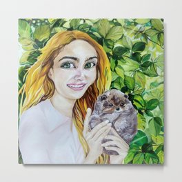 Happiness is Here. The Portrait of the Girl with the Pomeranian Puppy. Metal Print