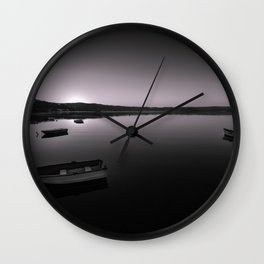 Boats on Knysna Lagoon at sunrise Wall Clock