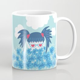 Geek Girl With Heart Shaped Eyes And Blue Flowers Coffee Mug