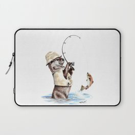 """ Natures Fisherman "" fishing river otter with trout Laptop Sleeve"