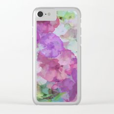 Sweet Peas Floral Abstract Clear iPhone Case