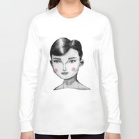 hepburn Long Sleeve T-shirts featuring Audrey Hepburn by Maripili