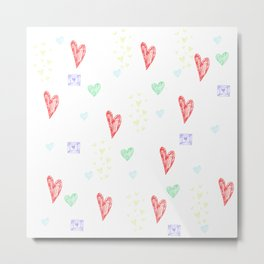 Seamless background with colorful hearts Metal Print