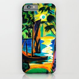 Boat on the Beach at Sunrise landscape coastal painting by Hermann Max Pechstein iPhone Case