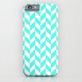 Herringbone (Turquoise & White Pattern) iPhone Case