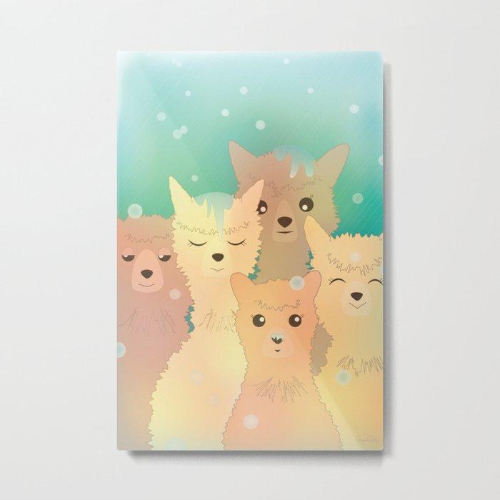 Alpaca Family I - Mint Green Snow Background Metal Print