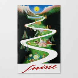 Switzerland - Vintage French Travel Poster Canvas Print