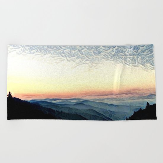 Pastel Sunset over Mountains (Hipster Landscape) Beach Towel