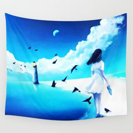 Lighthouse At The Sea Wall Tapestry