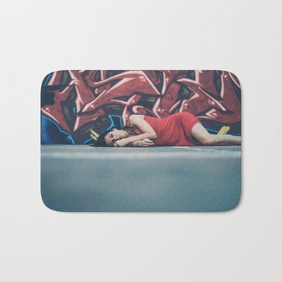 woman in red Bath Mat