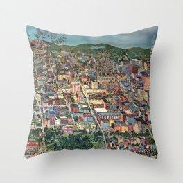 Map of Scranton Mural Print Throw Pillow