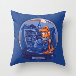 I Love Books and Cats Throw Pillow