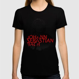Johann Sebastian Bach portrait in grays with red text T-shirt